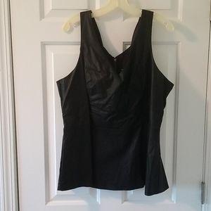 "Torrid black ""leather"" peplum top"